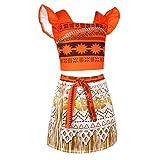 Tiaobug Mädchen Kostüm Kleid ärmellos Crop Top+Rock Prinzessin Vaiana Moana Verkleidung Desigual für Cosplay, Geburtstag, Karneval, Fasching, Alltags Orange 116-122