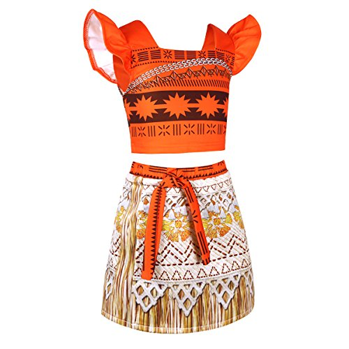 Tiaobug Mädchen Kostüm Kleid ärmellos Crop Top+Rock Prinzessin Vaiana Moana Verkleidung Desigual für Cosplay, Geburtstag, Karneval, Fasching, Alltags Orange 110-116 (Halloween Barbie Puppe Kostüm)