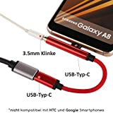 TheSmartGuard - 2in1 Lade-Adapter / USB-C auf USB-C Ladekabel und Klinke / Aux Kabel / Lautsprecherkabel / Kopfhörerkabel Female Moto Z Serie / Z Force, Huawei Mate 10 Pro, Xiaomi Mi 6 / Mix 2 / Note 3 und viele mehr mit USB-Typ-C Anschluss (-Wichtig!!- nicht kompatibel mit HTC und Google Pixel Modelle) | Farbe: Rot | Länge: 10 cm / 0,10 Meter