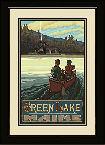 Northwest Art Mall pal-1803mfgdm lkch Green Lake Maine Lake Canoers Hills gerahmtes Wandbild Art von Künstler Paul A. lanquist, 13von 40,6cm