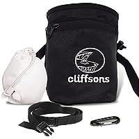 Cliffsons Bolsas de Tiza para Escalada, Gimnasia, Deportes, Black Chalk Bag with Chalk Ball