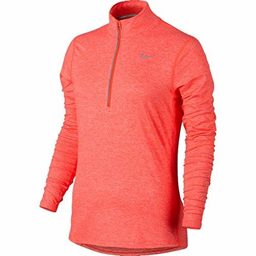 Nike Element Oberteil mit halbem Reißverschluss, langärmlig, für Damen Hyper Orange/Heather