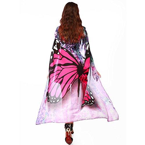 SHOBDW Baby Mädchen Weiche Gewebe Schmetterlingsflügel Schal feenhafte Nymphe Pixie Halloween Weihnachten Karneval Cosplay Kostüm Zusatz Frauen Karneval Parade 140 * 100CM Schal Umhang (Brasilien Kostüm Für Mädchen)