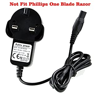 Aukru 15V 0.5A / 500mA Power Supply Travel Wall Charger with 1.5M Cable for Philips Shaver AquaTouch AT-Serie AT750, AT751, AT752, AT753, AT890, AT890, AT891, AT893, AT940 (Black)
