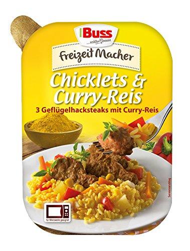 Buss Chicklets und Curry-Reis, 3 Geflügelhacksteaks, 300 g
