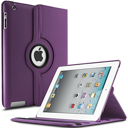 iPad 2 3 4 Hülle,Infiland PU Ledertasche lederhülle 360°Drehbarer Stand Smart Cover Case Schutzhülle Tasche Etui für Apple iPad 2,iPad 3, iPad 4(mit Auto Schlaf / Wach Funktion)(Lila)