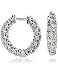 1.65CTS Certified G/VS2 Brilliant Diamond One Row Cut Hoop Set Earrings in 18k White Gold