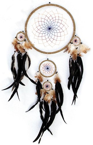 Riesen-Traumfänger mit echten Federn | Dreamcatcher 30cm (Dreamcatcher)
