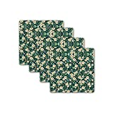Jikraa Wooden Pack of 4 Coaster, Square Shape Coaster, Floral Pattern Coaster Multicolor