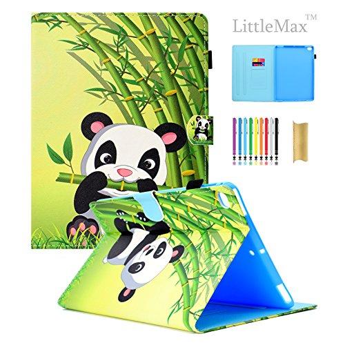 iPad 9,72017/Air/Air 2Hülle, littlemax (TM) Ultra Slim PU Leder Leicht Case Flip Folio Ständer Smart Cover mit Auto Wake/Sleep für Apple iPad 24,6cm 2017, Air 12-, 1 Green Bamboo Panda Apple Wireless Keyboard Kit