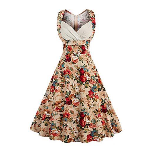 LKJH Strandkleid Damen Floral Plus Size Täglich Ausgehen Street Chic A Line Dress - Floral Schatzausschnitt Sommer Baumwolle Schwarz Kamel
