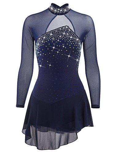 Eislaufen Kleid Kostüm - Eiskunstlauf Kleid für Mädchen Frauen, Handarbeit Rollschuhkleid Wettbewerb Professionel Kostüm Langärmelig Kristall Eislaufen Kleider Dunkelblau