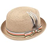 Coucoland Trachtenhut Herren Trachten Hut mit Feder für Herren Tiroler Hut Oktoberfest Hut Herren Fasching Kostüm Accessoires (Beige)