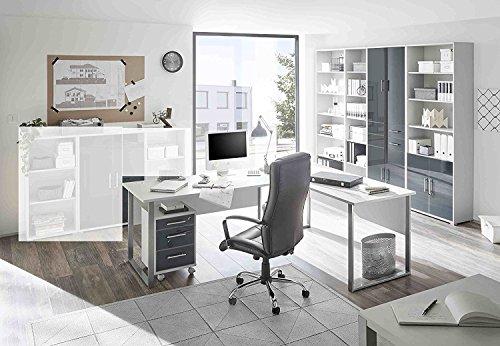 Komplettes Arbeitszimmer Büro Möbel Set Komplettset OFFICE LUX in lichtgrau Glas graphit Lack 6-teilig