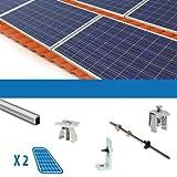 Kit fijacion 2Pannello Solare Fotovoltaico da 250W tetti con tegole