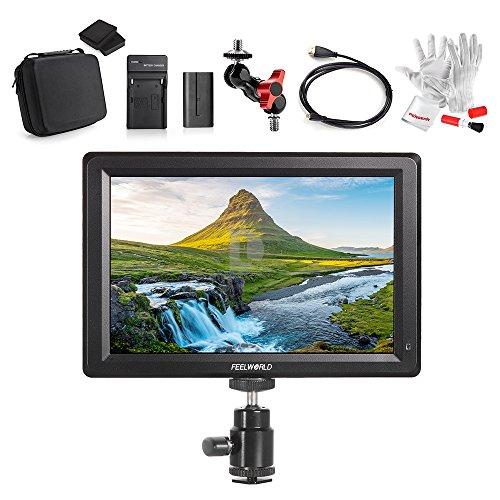 Feelworld F7 7 Zoll IPS 1920X1080 Volle Hochauflösung unterstützen 4K Signal 4K UHD 3840*2160P HDMI Input/Output DSLR Monitor mit Schnellwechselplatte, Zubehör Tragetasche und Pergear® Reinigung Set für DSLR Kamera und Camcorder