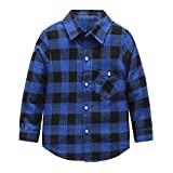 Grandwish Jungen Kariertes Hemd Langarm-Shirts für Mädchen Blau Schwarz Gr.86