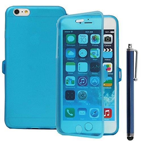 VComp-Shop® Silikon Handy Schutzhülle mit Klappe für Apple iPhone 6 Plus/ 6s Plus - HELLBLAU HELLBLAU + Großer Eingabestift