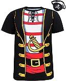 Funny World Disfraz Costume de Pirata T-Shirts Camisetas con Pirata Parche en el Ojo para Hombre...