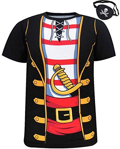 Funny World Herren Piraten Kostüm T-Shirts mit Augenklappe (XXL, Schwarz)