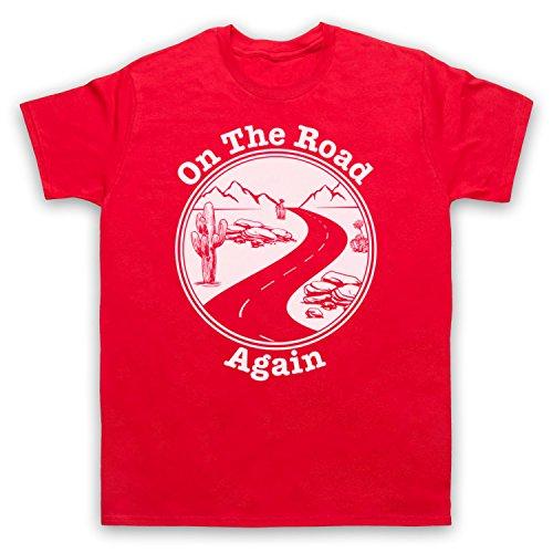 On The Road Again Travelling Touring Slogan Herren T-Shirt Rot