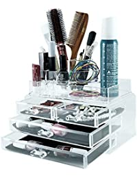 Kurtzy Acrylic Organizer Jewellery Box With Brush Holder 23x13x18.5cm