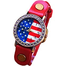 Fashion red retro watch Korean American flag dial leather watch