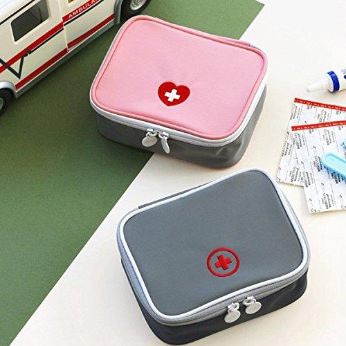 Gugutogo Mini Outdoor Kit di Pronto Soccorso Borsa da Viaggio Medicina Portatile Pacchetto Kit di Emergenza Borse Sacchetto di immagazzinaggio della Pillola Piccolo organizzatore (Colore: Grigio)