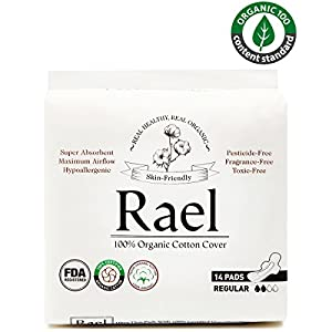 Rael 100% Organic Cotton Menstrual Regular Pads - Ultra Thin Natural Sanitary Napkins With Wings (2 Pack of 14 Pads)