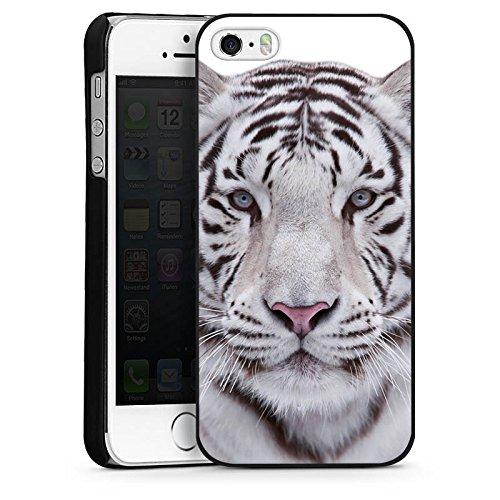 Apple iPhone 5s Housse étui coque protection Tigre des neiges Blanc Blanc CasDur noir