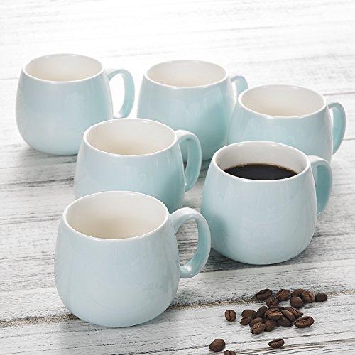 Panbado 6er Set Kaffeetassen aus Porzellan, 375 ml Tassen Set für 6 Personen, Himmelblau + Weiß