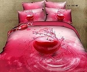 3D Rouge cerise rose queen Couvre-lit de taille lit avec housse de couette, un drap 100%  coton LIN CARRE Chambre Lit en '- elle est d'une couleur Par pc/Par Lot