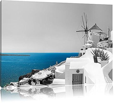 Club Kalimera Kriti in Kreta schwarz/weiß Format: 120x80 auf Leinwand, XXL riesige Bilder fertig gerahmt mit Keilrahmen, Kunstdruck auf Wandbild mit Rahmen, günstiger als Gemälde oder Ölbild, kein Poster oder Plakat