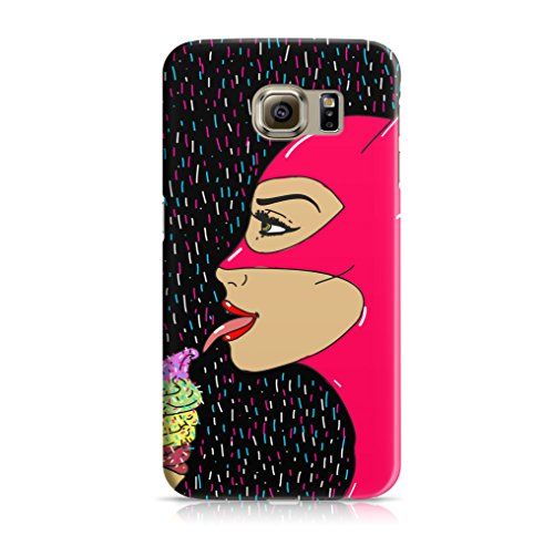 Hermit&The7Foxes Samsung Galaxy S6 Hülle Schwarz Rosa Catwoman Motive Muster Ultra Dünne Schutzhülle aus Kunststoff für Samsung Galaxy S6 Handyhülle Samsung Case Cover