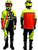 Tenue Enfant 5-6 Ans Moto Cross Quad VTT BMX MTB Pantalon Gants Maillot Fluo Jaune...