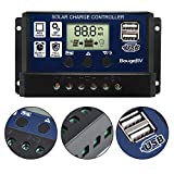 BougeRV 30A Solar Laderegler 12V/24V PWM Solarladeregler Dual USB Solar Panel Regler Solarpanel Controller mit LCD-Display für Auto, Camping, Haus, Industrie, Gewerbe, Boot
