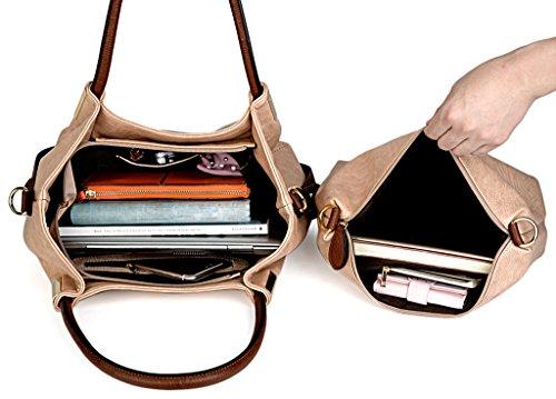 UTO Borsa SET per la borsa Messenger in pelle Donna 3 Pezzi Borse Pelle Sintetico PU borsa a Spalla Crema