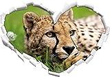 Cheetah a forma di cuore erba nel formato sguardo, parete o adesivo porta 3D: 92x64.5cm, autoadesivi della parete, decalcomanie della parete, Wanddekoratio