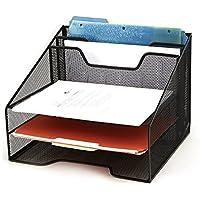 Mind Reader Mesh Desk Organizer 5 Bandejas Desktop Document Letter Bandeja para carpetas, correo, papelería, accesorios de escritorio, negro