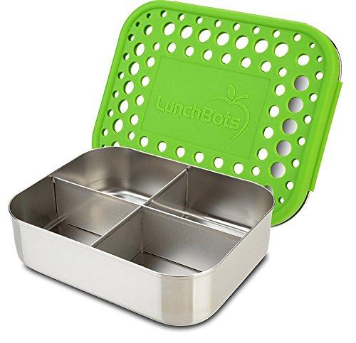 LunchBots Quad Edelstahl Nahrungsmittelbehälter - Vier Abschnitt Design Perfekt für gesunde Snacks, Beilagen oder Finger Foods - Umweltfreundlich, Spülmaschinenfest und BPA frei - Grün Gepunktet (Aluminium-lunch-boxen Für Kinder)