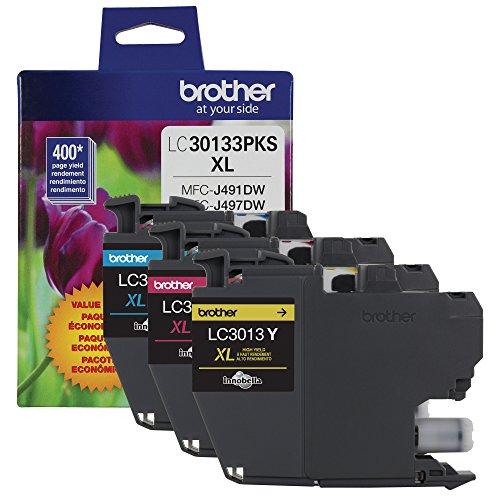 Brother Original lc30133pks 3er Pack High Yield Color Tintenpatronen, Ergiebigkeit: bis zu 400Seiten/Kartusche, enthält Cyan, Magenta und Gelb, lc3013