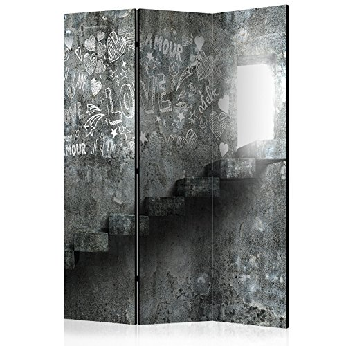 murando - Biombo con Tablero de Corcho - Concreto Grafitti 135x172 cm - de impresión Bilateral - Lienzo de TNT Foto Biombo Decorativo para Interiores - i-B-0050-z-b