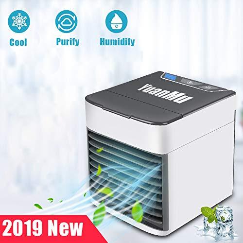 Mini Air Cooler 3-in-1 Luftkühler Luftbefeuchter Luftreiniger, USB Tragbare Kühler 7 Farben 3 Lüftergeschwindigkeiten Mobile Klimageräte Luftbefeuchter für Home Office Auto im Freien