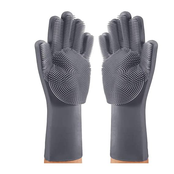 Silicone Scrubbing Hand Gloves for Kitchen Dish Washing (1 Pair)