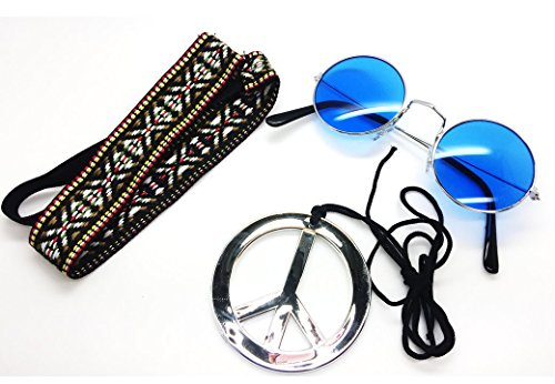 Blau–Hippie Haarband & Blauer Brille Kit Herren Damen Unisex Fancy Kleid 60er 70er Jahre Hippie-Kit (Für Herren Hippie Kit)