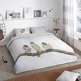 Good Morning Bettwäsche 2401 Bunt Spatzen Vögel Winter Flanell 135 cm x 200 cm