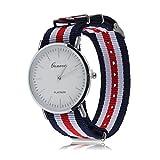 Uhr mit Nylonarmband, blau-rot-weiß gestreift