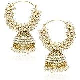 Shining Diva Pearl Stylish Fancy Party Wear Jhumki/Jhumka Earrings For Girls & Women(White)(rrsd7371er)