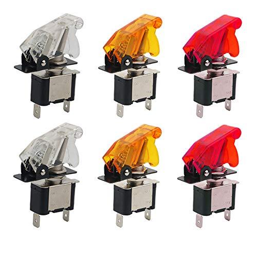 KINYOOO LED Anzeige Wippschalter, KFZ Kippschalter Schalter, 12V 20A Auto KFZ Schalter SPST Wippschalter Ein/Ausschalter (2 Rot, 2 weiß, 2 gelb) -