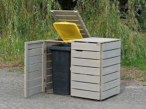 2er Mülltonnenbox / Mülltonnenverkleidung 240 L Holz, Transparent Geölt Grau